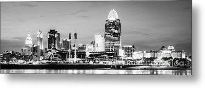 Cincinnati Skyline Black And White Panorama Photo Metal Print by Paul Velgos