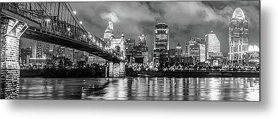 Metal Print featuring the photograph Cincinnati Skyline Panorama Ohio River Reflections - Black White by Gregory Ballos