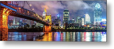 Metal Print featuring the photograph Cincinnati Skyline Panorama Ohio River Reflections by Gregory Ballos