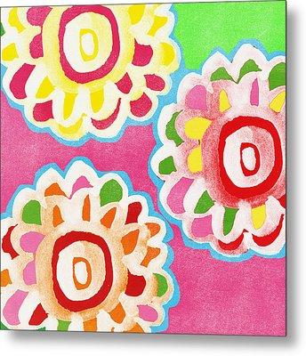 Fiesta Floral 2 Metal Print by Linda Woods