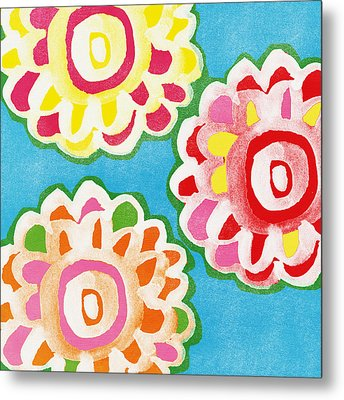 Fiesta Floral 1 Metal Print by Linda Woods