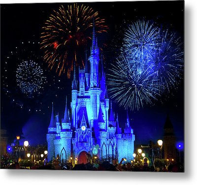 Cinderella Castle Fireworks Metal Print by Mark Andrew Thomas