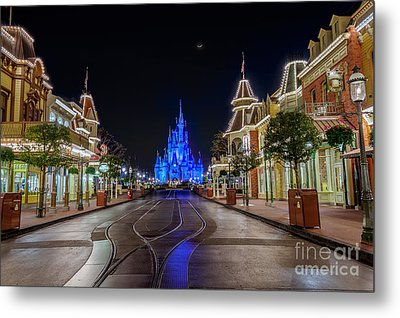 Cinderella Castle Glow Over Main Street Usa Metal Print