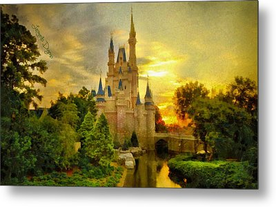 Cinderella Castle - Monet Style Metal Print by Leonardo Digenio