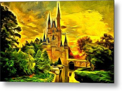Cinderella Castle  - Van Gogh Style -  - Da Metal Print by Leonardo Digenio