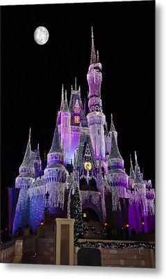 Cinderellas Castle At Night Metal Print by Carmen Del Valle
