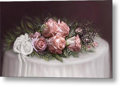 Metal Print featuring the painting Spray Of  Roses by Bonnie Willis