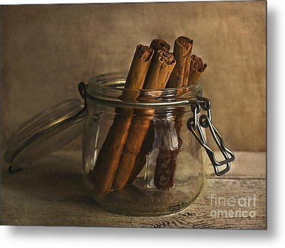 Cinnamon Sticks In A Glass Jar Metal Print