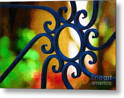 Circle Design On Iron Gate Metal Print by Donna Bentley