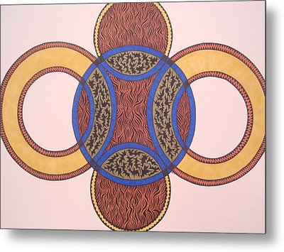 Metal Print featuring the drawing Circles In Ink by Beth Akerman