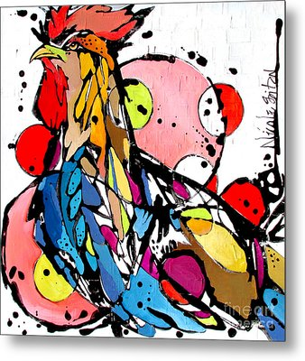 Circles The Rooster Metal Print
