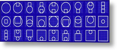 Circuare -alphabet- Grid Blueprint Metal Print by Coded Images
