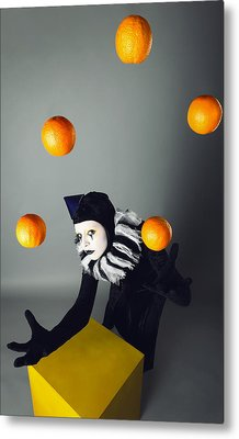 Circus Fashion Mime Juggles With Five Oranges. Photo. Metal Print by Kireev Art