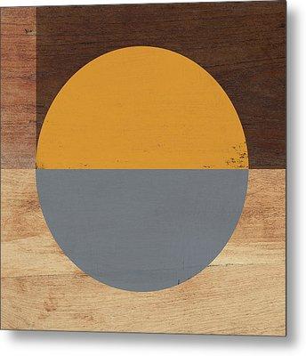 Cirkel Yellow And Grey- Art By Linda Woods Metal Print