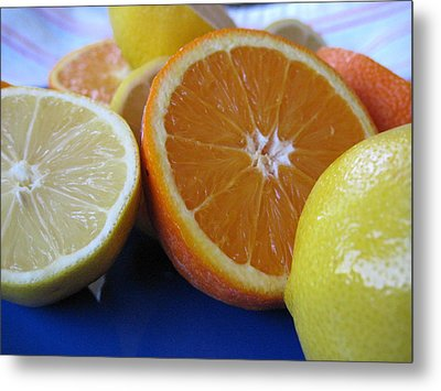 Metal Print featuring the photograph Citrus On Blue Plate by Kim Pascu