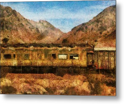 City - Arizona - Desert Train Metal Print by Mike Savad