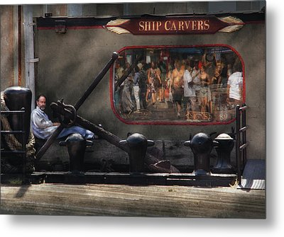 City - Ny South Street Seaport - Ship Carvers Metal Print by Mike Savad