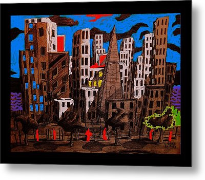 City - Abstraction Metal Print by Chris Boone