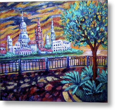 City Across The River Metal Print