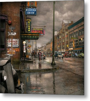 City - Amsterdam Ny -  Call 666 For Taxi 1941 Metal Print by Mike Savad