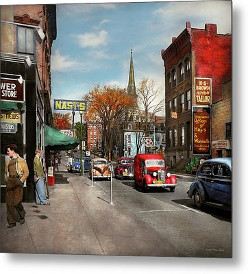 Metal Print featuring the photograph City - Amsterdam Ny - Downtown Amsterdam 1941 by Mike Savad