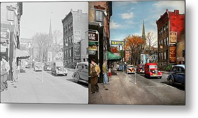 Metal Print featuring the photograph City - Amsterdam Ny - Downtown Amsterdam 1941- Side By Side by Mike Savad