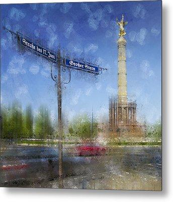 City-art Berlin Victory Column Metal Print