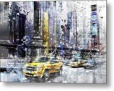 City-art Nyc Collage Metal Print by Melanie Viola