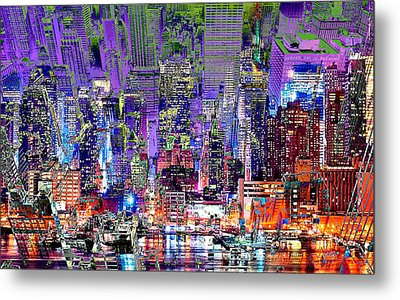 City Art Syncopation Cityscape Metal Print by Mary Clanahan
