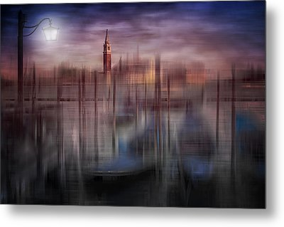 City-art Venice Gondolas At Sunset Metal Print by Melanie Viola