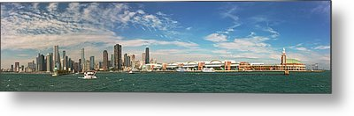 City - Chicago Il -  Chicago Skyline And The Navy Pier Metal Print