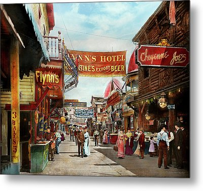 Metal Print featuring the photograph City - Coney Island Ny - Bowery Beer 1903 by Mike Savad