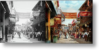 Metal Print featuring the photograph City - Coney Island Ny - Bowery Beer 1903 - Side By Side by Mike Savad