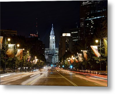 City Hall From The Parkway Metal Print by Jennifer Ancker