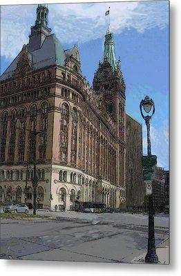 City Hall With Street Lamp Metal Print