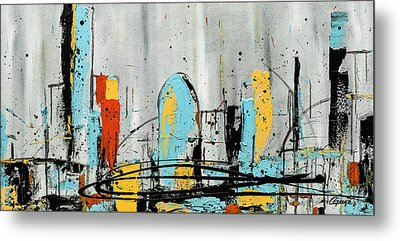 Metal Print featuring the painting City Limits by Carmen Guedez
