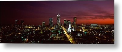 City Lit Up At Night, Indianapolis Metal Print by Panoramic Images