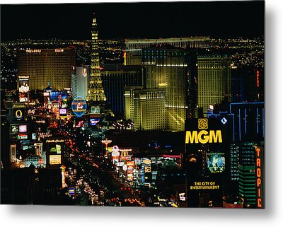 City Lit Up At Night, The Strip, Las Metal Print