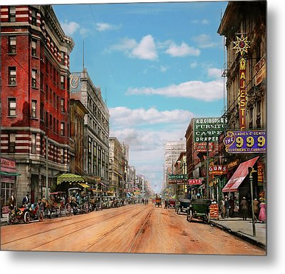 Metal Print featuring the photograph City - Memphis Tn - Main Street Mall 1909 by Mike Savad