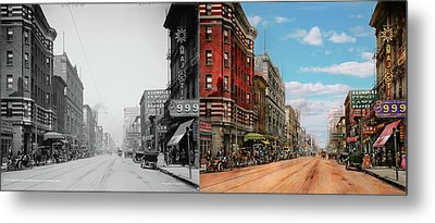 Metal Print featuring the photograph City - Memphis Tn - Main Street Mall 1909 - Side By Side by Mike Savad