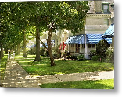 Metal Print featuring the photograph City - Naval Academy - A Walk Down Captains Row by Mike Savad
