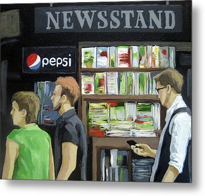 City Newsstand - People On The Street Painting Metal Print by Linda Apple
