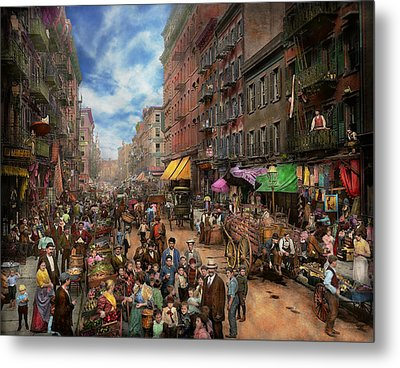 City - Ny - Flavors Of Italy 1900 Metal Print by Mike Savad