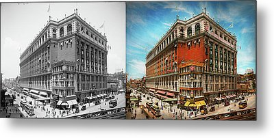 Metal Print featuring the photograph City - Ny New York - The Nation's Largest Dept Store 1908 - Side by Mike Savad