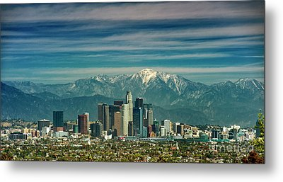 City Of Angeles Snow Capped Mountain Metal Print by David Zanzinger