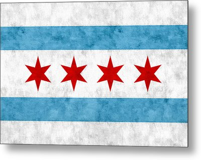 Metal Print featuring the mixed media City Of Chicago Flag by Christopher Arndt