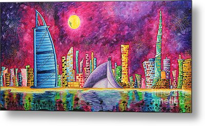 City Of Dubai Pop Art Original Luxe Life Painting By Madart Metal Print