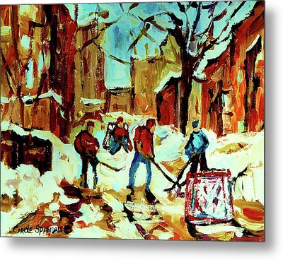 City Of Montreal Hockey Our National Pastime Metal Print by Carole Spandau