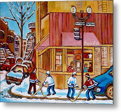 City Of Montreal St. Urbain And Mont Royal Beautys With Hockey Metal Print by Carole Spandau