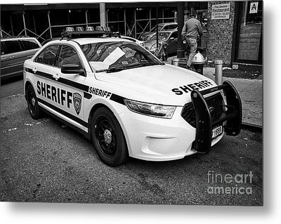 city of new york sheriff department ford police interceptor cruiser vehicle New York City USA Metal Print by Joe Fox